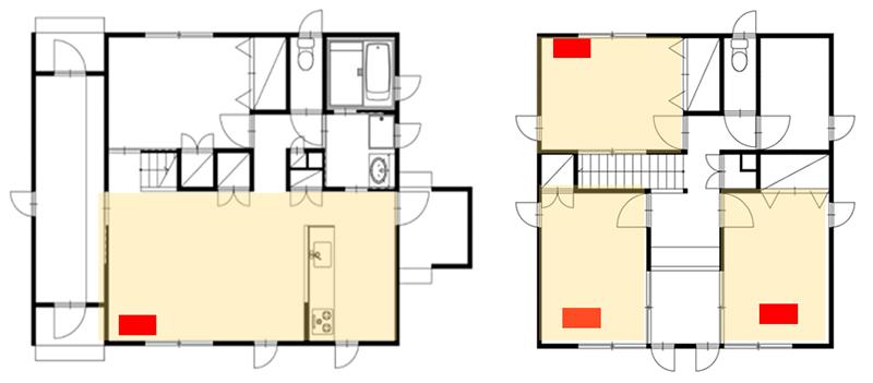 一般的な壁掛けエアコンの家