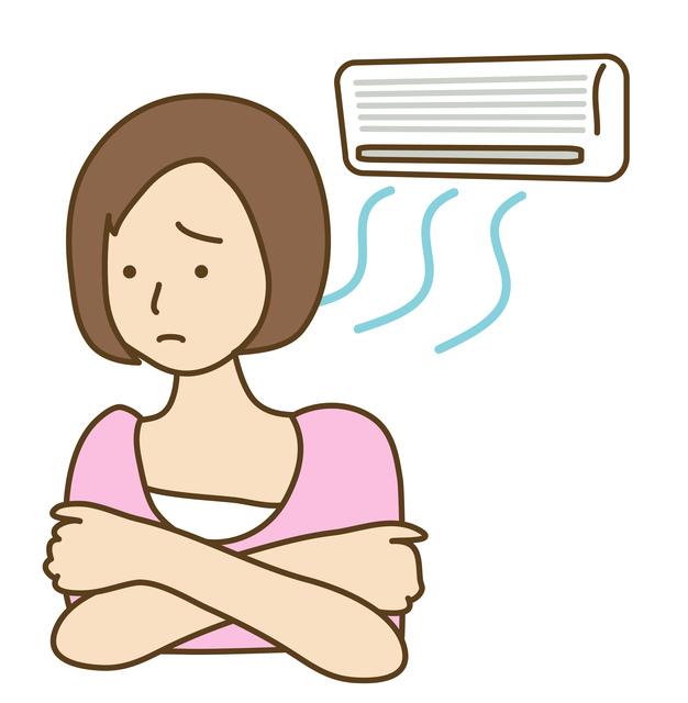 身体にあたるエアコンの風が苦手